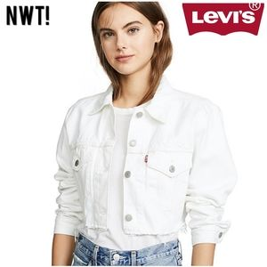 LEVI'S Cropped Trucker Denim White Jeans Jacket